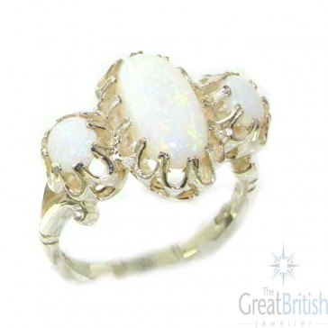 Large  Sterling Silver Natural Opal & Emerald Victorian Inspired Ring