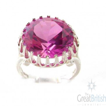 Sterling Silver Ladies Large Round Solitaire Synthetic Pink Sapphire Basket Ring