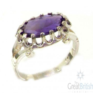 Sterling Silver Genuine 2.5ct Amethyst English Victorian Inspired Ring