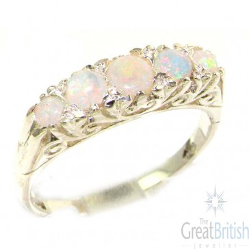 Sterling Silver Natural Opal Victorian Style Eternity Ring
