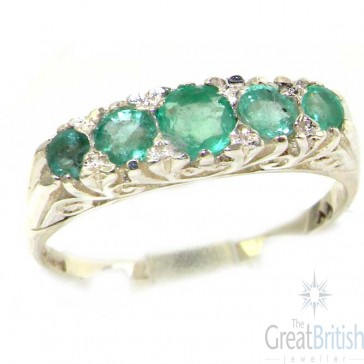 Sterling Silver Natural Emerald Victorian Style Eternity Ring