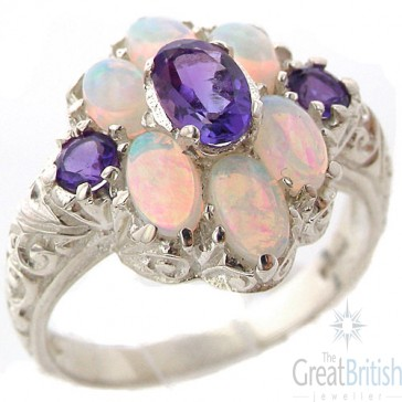 Sterling Silver Natural Amethyst and Very Fiery Opal Art Nouveau Style Ring