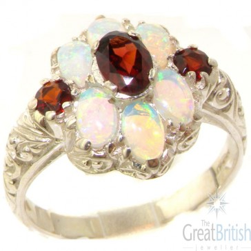 Sterling Silver Natural Garnet and Very Fiery Opal Art Nouveau Style Ring