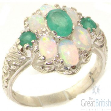 Sterling Silver Natural Emerald and Very Fiery Opal Art Nouveau Style Ring