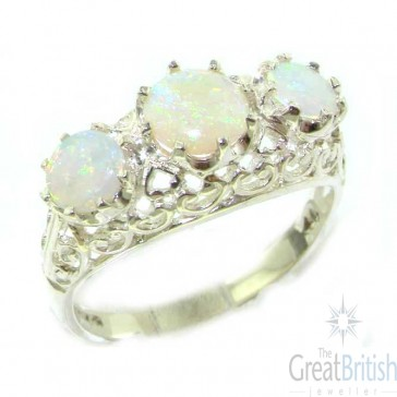 Sterling Silver Natural Fiery Opal English Filigree Trilogy Ring