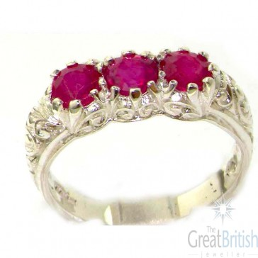 Sterling Silver Natural Ruby Art Nouveau Carved Trilogy Ring