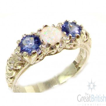 Sterling Silver Natural Opal & Tanzanite Art Nouveau Carved Trilogy Ring