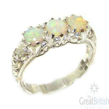 Sterling Silver Natural Opal Art Nouveau Carved Trilogy Ring