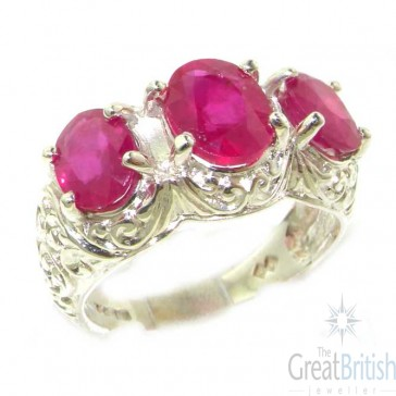Sterling Silver Natural Ruby Art Nouveau Carved Large Trilogy Ring
