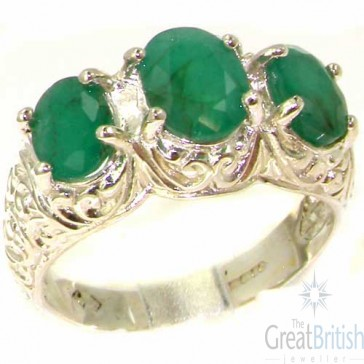 Sterling Silver Large Emerald Ring