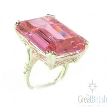 Sterling Silver Large 69ct Octagon Cut Synthetic Pink Sapphire Ring
