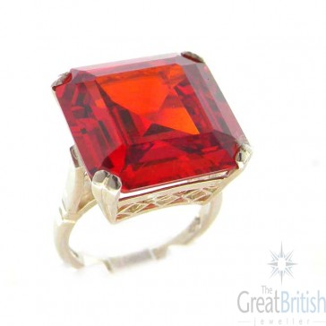 Sterling Silver Huge Heavy Square Octagon cut Synthetic Garnet Ring