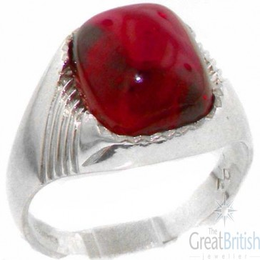 Sterling Silver Cabochon Ruby Mens Mans Signet Ring, Made in England
