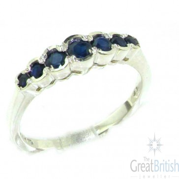 Sterling Silver Ladies Natural Deep Blue Sapphire Contemporary Style Eternity Band Ring