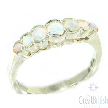 9ct White Gold Ladies Natural Fiery Opal Contemporary Style Eternity Band Ring