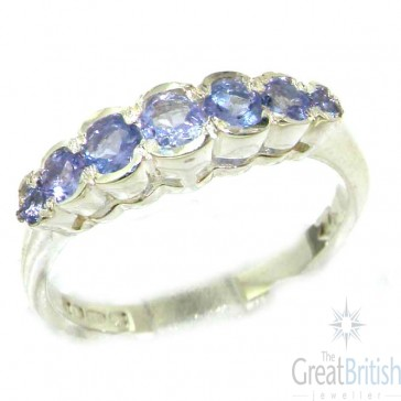 Sterling Silver Ladies Natural Tanzanite Contemporary Style Eternity Band Ring