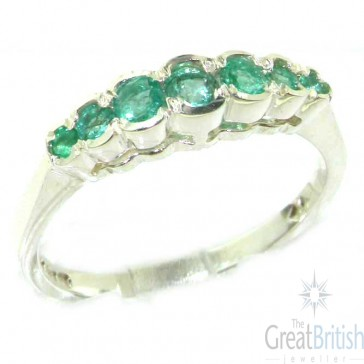 9ct White Gold Ladies Natural Emerald Contemporary Style Eternity Band Ring
