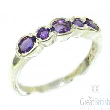 9ct White Gold Ladies Natural Amethyst Contemporary Style Eternity Band Ring