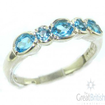 Sterling Silver Ladies Natural Blue Topaz Contemporary Style Eternity Band Ring