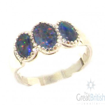 Sterling Silver Ladies Opal Trilogy Ring