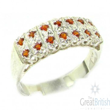 Sterling Silver Natural Garnet Victorian Style Wide Eternity Band Ring