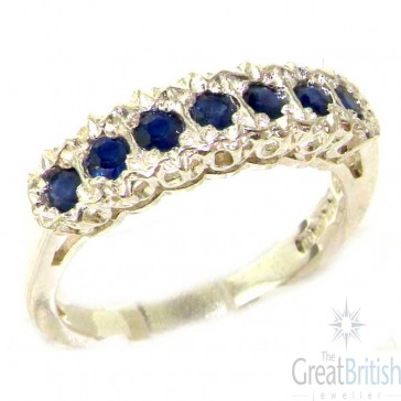 Sterling Silver Ladies Natural Sapphire Victorian Style Eternity Band Ring