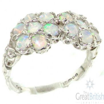 Sterling Silver Natural Very Colorful & Fiery Opal Double Daisy Ring