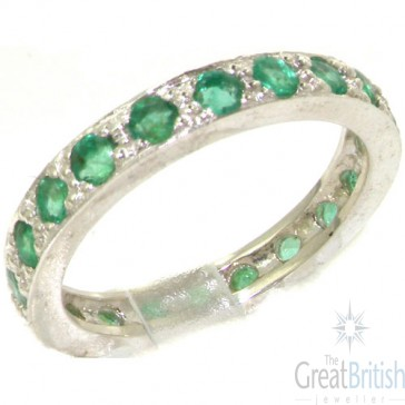 Sterling Silver Natural Emerald Full Eternity or Stack Ring