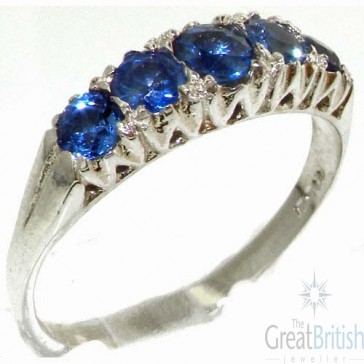 Sterling Silver Natural Blue Sapphire Vintage Style Ring