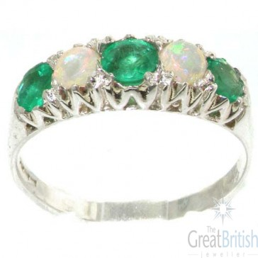 Sterling Silver Natural Emerald & Opal Vintage Style Ring