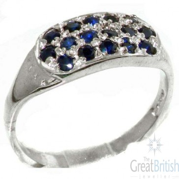Sterling Silver Deep Blue Natural Sapphire Ring