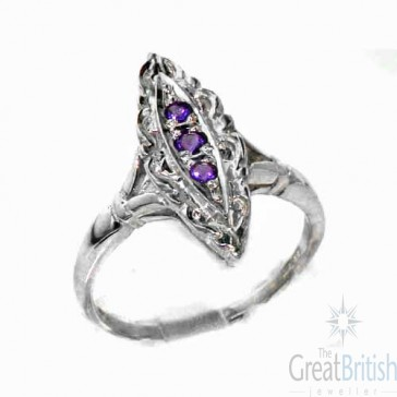 Sterling Silver Natural Amethyst Ring