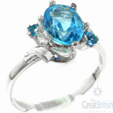 Sterling Silver Large 9x7mm Natural Blue Topaz Ladies Ring