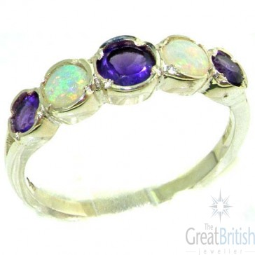Sterling Silver Natural Amethyst & Fiery Opal Womens Right Hand Ring