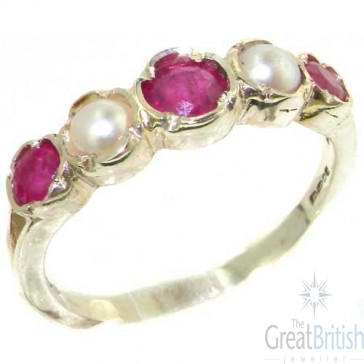 Sterling Silver Natural Ruby & Pearl Womens Eternity Ring