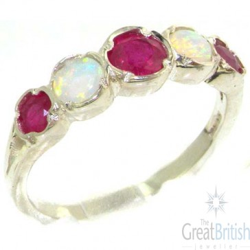 Sterling Silver Natural Ruby & Fiery Opal Womens Eternity Ring