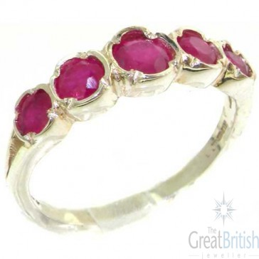 Sterling Silver Natural Vibrant Ruby Womens High Quality Ring