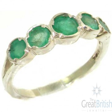 Sterling Silver Natural Vibrant Emerald Womens High Quality Ring