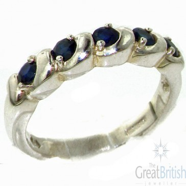 Sterling Silver Deep Blue Natural Sapphire Eternity Ring