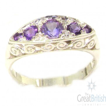 Carved Sterling Silver Natural Amethyst Ring
