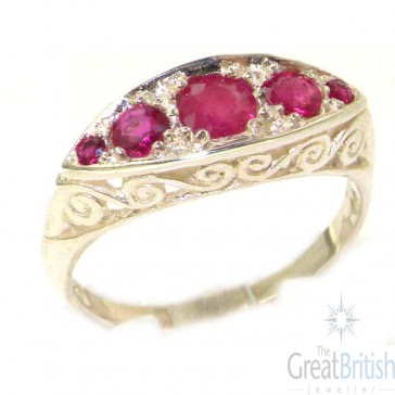 Carved Sterling Silver Natural Ruby Ring