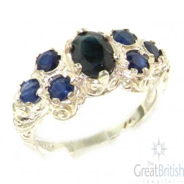 Sterling Silver Ladies Large Natural Sapphire Art Nouveau  Ring