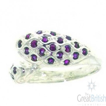 Sterling Silver Heavy Amethyst Dolphin Ring