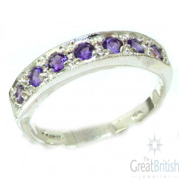 Sterling Silver Ladies Natural Amethyst Eternity Band Ring
