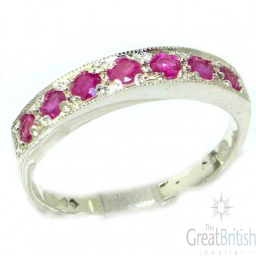 9ct White Gold Ladies Natural Ruby Eternity Band Ring