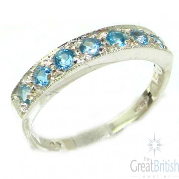 9ct White Gold Ladies Natural Blue Topaz Eternity Band Ring