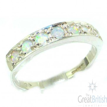 14K White Gold Ladies Natural Fiery Opal Eternity Band Ring