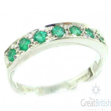 14K White Gold Ladies Natural Emerald Eternity Band Ring