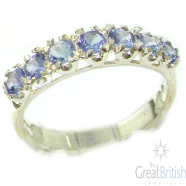 Sterling Silver Ladies Tanzanite Vintage Style Eternity Band Ring