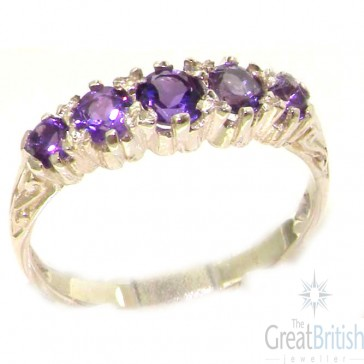 Antique Style Sterling Silver Natural Amethyst Ring